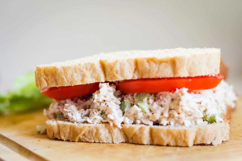 roasted chicken salad on whole grain bread