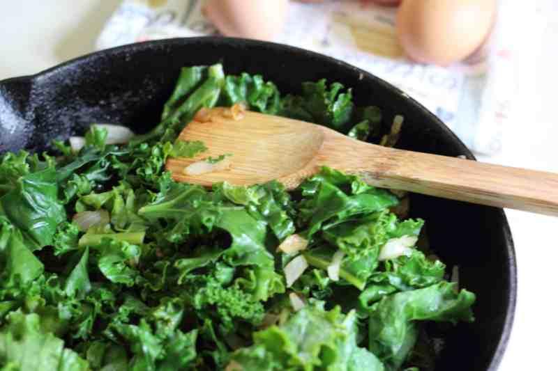 kale sauteed in pan