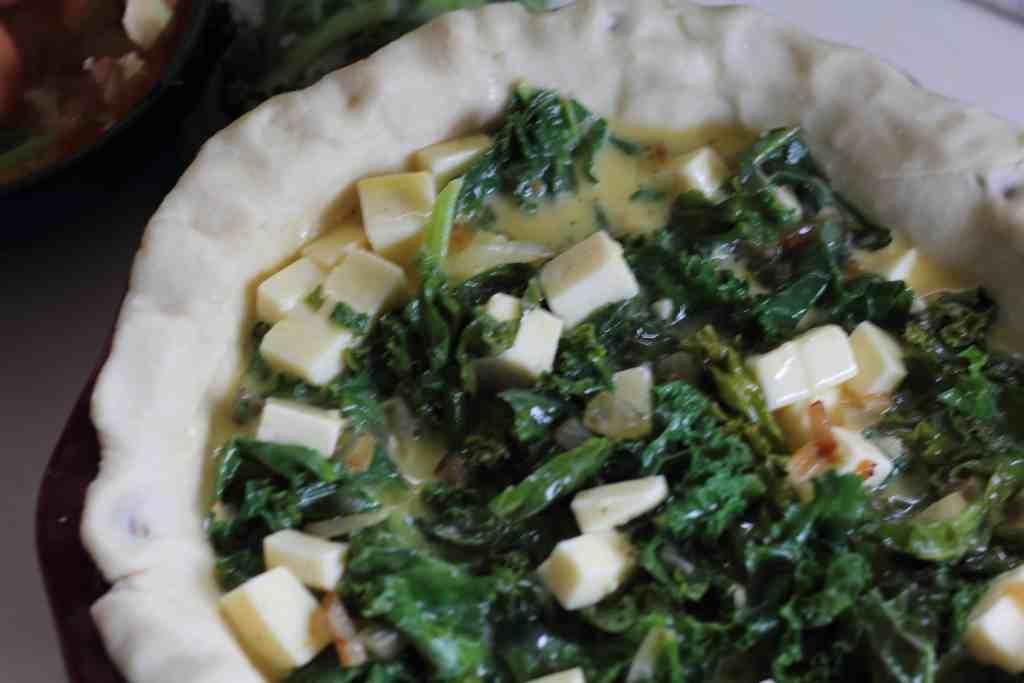 unbaked kale quiche