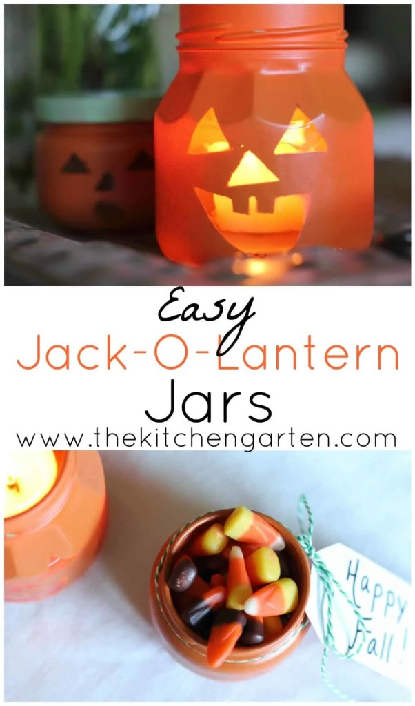 DIY Recycled Jack-O-Lantern Jars- The Kitchen Garten