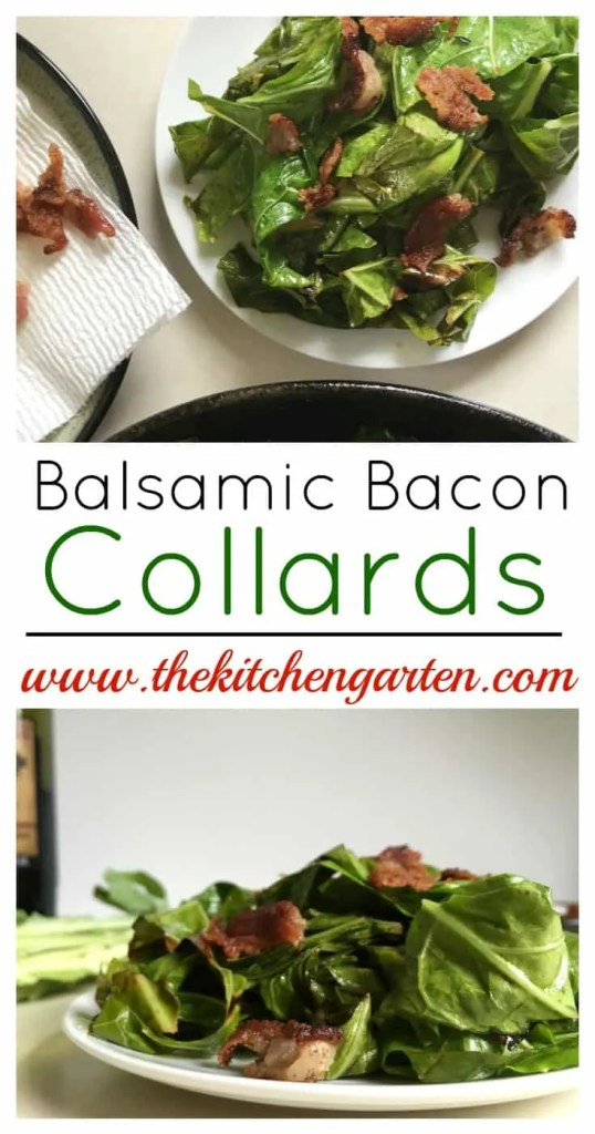 balsamic bacon collards on white plate
