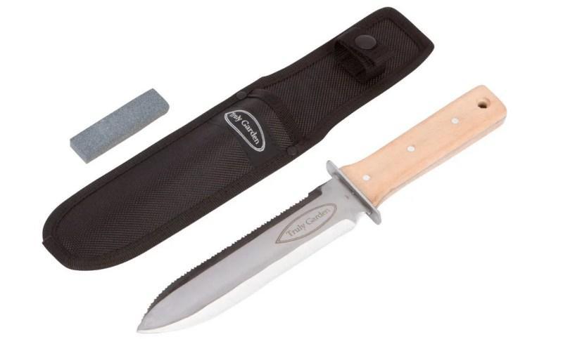 gardening knife and sheath on white background