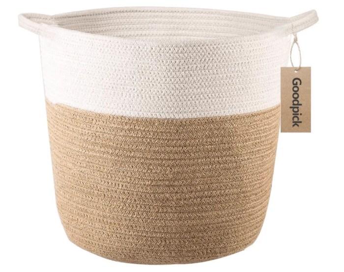 cotton woven planter basket on white background