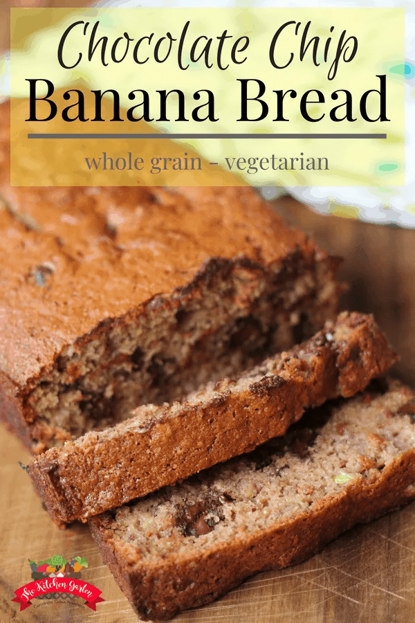 Whole grain flour, moist bananas, and rich chocolate combine in this easy chocolate chip banana bread recipe. Don't let those brown bananas go to waste!  #bananabread #banana