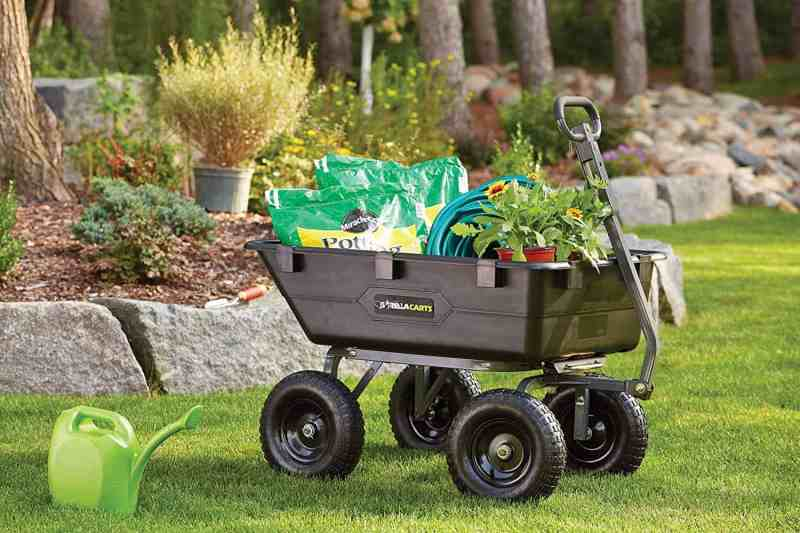 Gorilla Cart filled with potting soil and flowers
