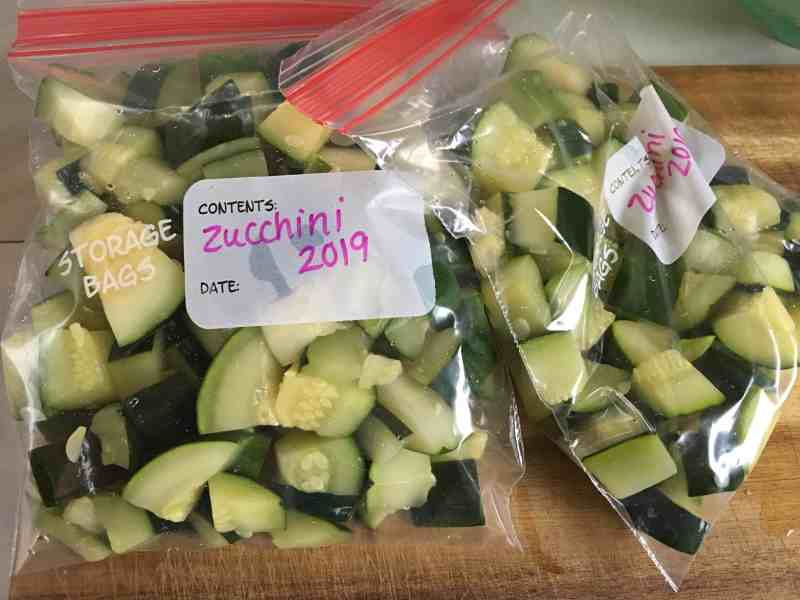 chopped zucchini ready for the freezer in quart ziploc bags