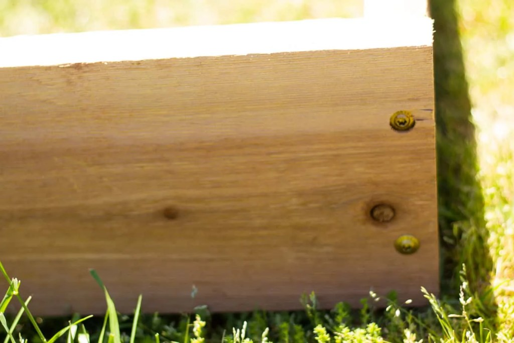 side of a cedar raised bed with bronze wood screws
