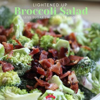 bacon topped broccoli salad in glass bowl