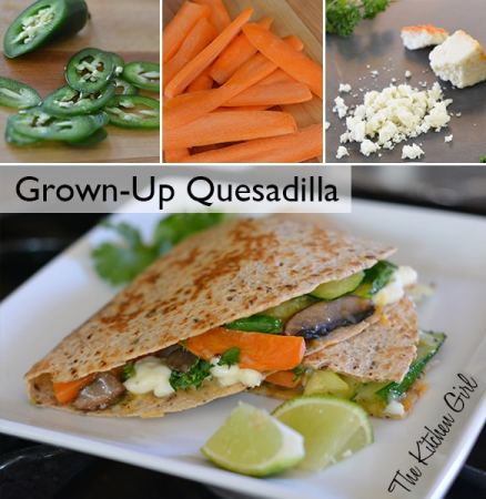 Grown-up quesadilla loaded with organic, roasted vegetables with (optional) jalapeno kick. Use any vegetables (zucchini, carrot, mushroom, onion, bell pepper) Quick, healthy, vegetarian dinner. thekitchengirl.com