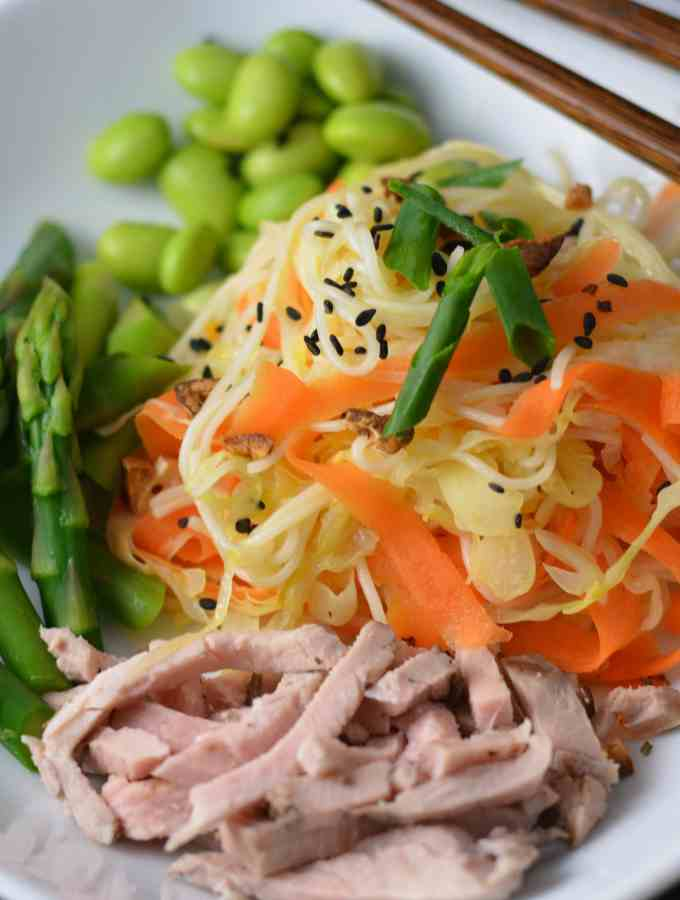 Asian Sesame Noodles with Honey Sesame Ginger Dressing