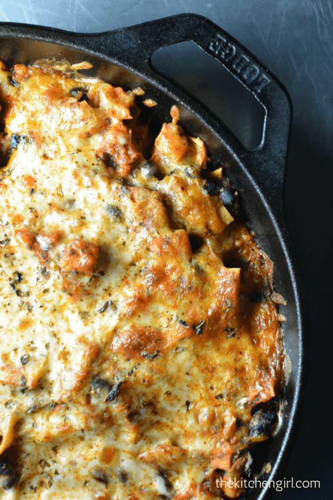 30-Minute Vegetarian Skillet Enchiladas made with black beans and sweet potatoes. Easy, meatless-Monday, Mexican, comfort food. thekitchengirl.com