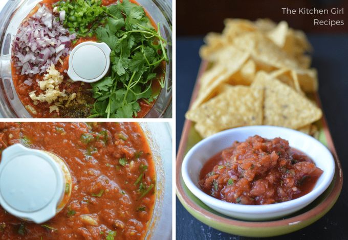 Use your blender OR food processor ANY season with ALWAYS available ingredients. 5 Minute Mexican Restaurant Blender Salsa. thekitchengirl.com #healthymexicanfood #eathealthy #blendersalsa #healthysalsa #partyfood #vegan #glutenfree #veganmexicanfood #veganrecipe