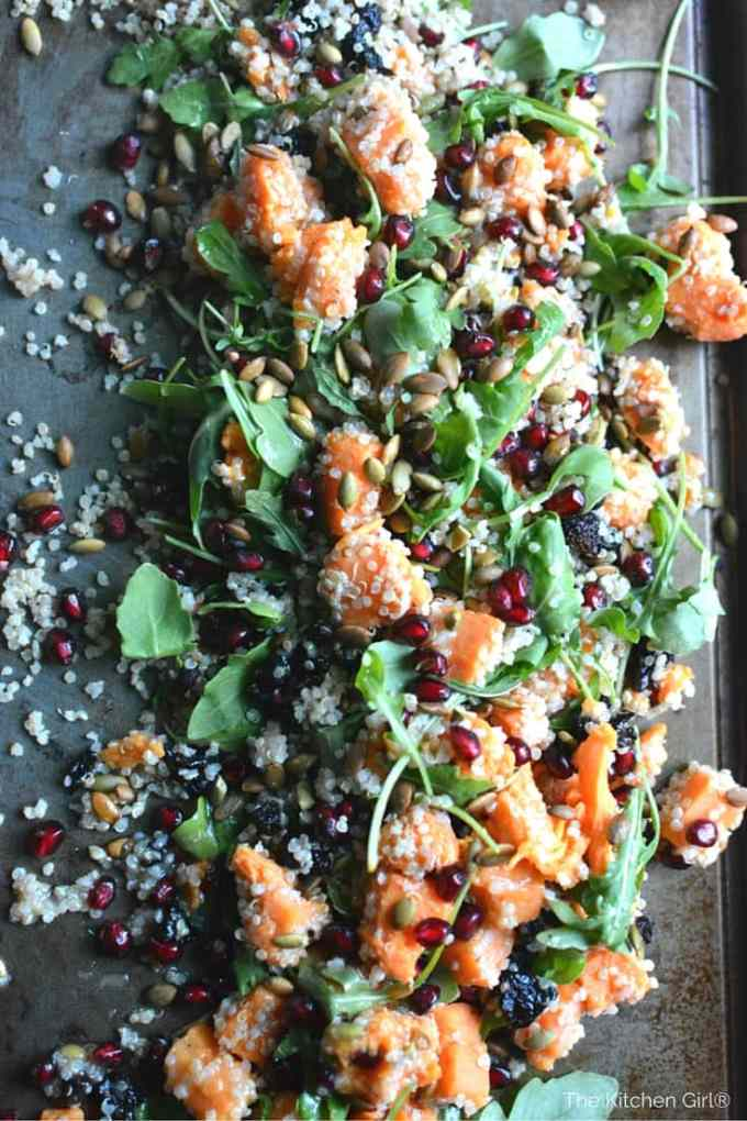 Move over candied sweet potatoes! This healthy, Autumn Quinoa Sweet Potato Arugula Salad is your new go-to Thanksgiving and Christmas side dish! thekitchengirl.com