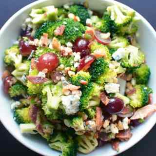Broccoli Salad with Bacon, Blue Cheese, and Grapes