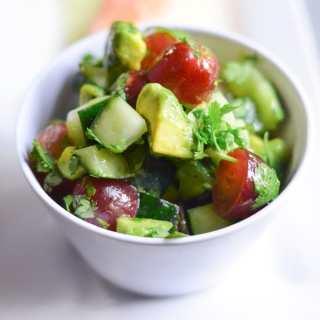 Cucumber Avocado Grape Salsa Salad