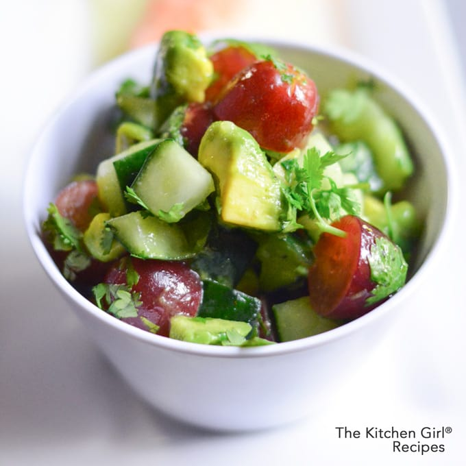 This hydrating, superfood, party salad is Cucumber Avocado Grape Salsa Salad. It's Mexican-inspired, vegan, gf, raw, and paleo! thekitchengirl.com