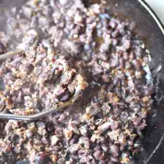 How To Make Refried Black Beans From Canned Black Beans in a skillet. thekitchengirl.com #glutenfree #healthymexican #veganmexican #meatless #cincodemayo #partyfood