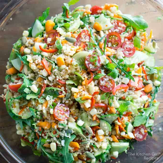 Make once...eat all week! Meal Prep Veggie Quinoa Chopped Salad with Balsamic vinaigrette on thekitchengirl.com #quinoarecipes #mealprep #choppedsalad #lunchideas #healthylunch #quinoasalad #mealplan