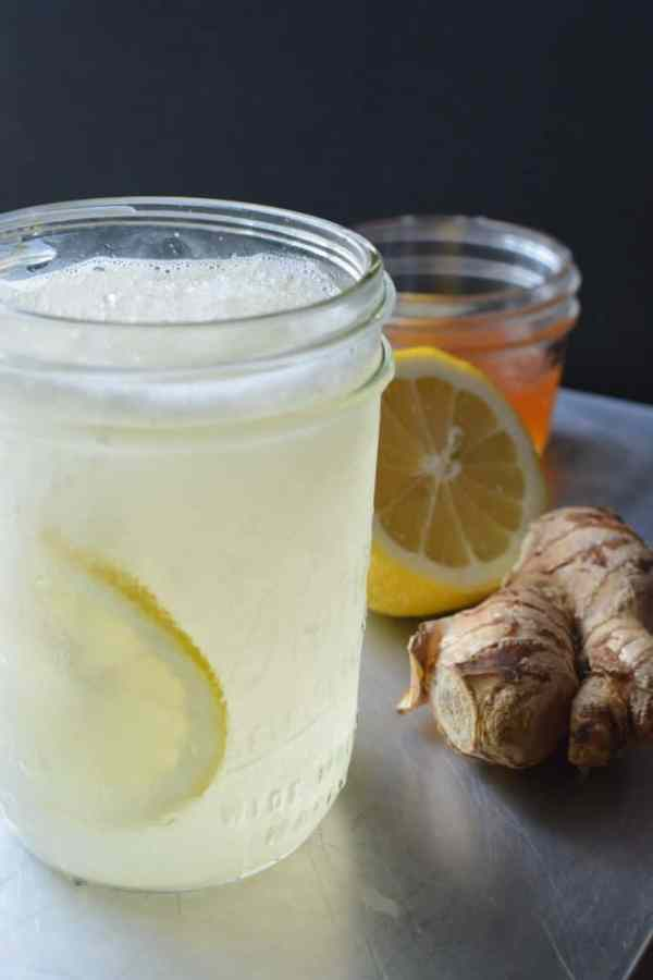 Miracle Slushie Sore Throat Remedy is honey, lemon, steeped ginger, water, and ice, blended. Kids love it too! #coldrelief #coldsymptoms #ginger #lemon #honey #sorethroat #antiinflammatory #sorethroatrelief