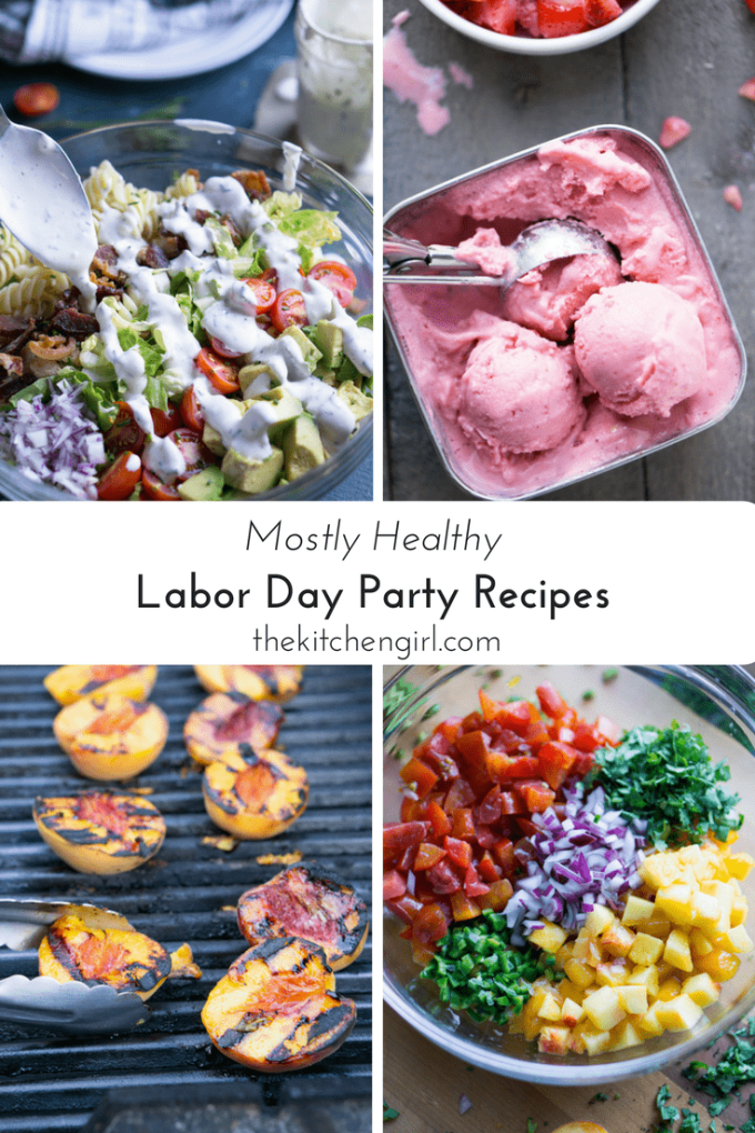 Healthy summer roundup of appetizers / starters, salads, entrees, and dessert with loads of of fresh, healthy, summer ingredients. Mostly Healthy Labor Day Party Recipes thekitchengirl.com #laborday #labordayrecipes #healthyrecipes #healthypartyfood #summerrecipes #summersalad #summerdessert