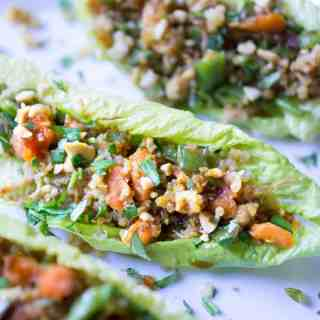 SO easy and healthy! Rotisserie Chicken Teriyaki Lettuce Cups on thekitchengirl.com #teriyaki #lettucewraps #lettucecups #rotisseriechicken #gameday #tailgate #appetizers #lunchrecipe #packyourlunch #asianlettucewraps