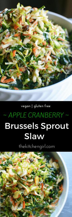 Make 'em love Brussels sprouts! This Apple Cranberry Shredded Brussels Sprout Slaw has kale, almonds, and cranberries in a cider vinaigrette. thekitchengirl.com #brusselsproutsalad #healthyholidayrecipe #cranberryrecipes #holidaysalad