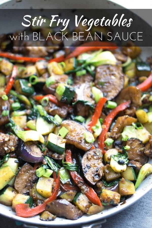 Weeknight veggie stir fry in a savory, Chinese pan sauce. Stir Fry Vegetables with Black Bean Sauce is naturally vegan and ready in 30 minutes. #asian #stirfry #vegan #vegetarian #mealprep #Chinesefood #weeknightmeal