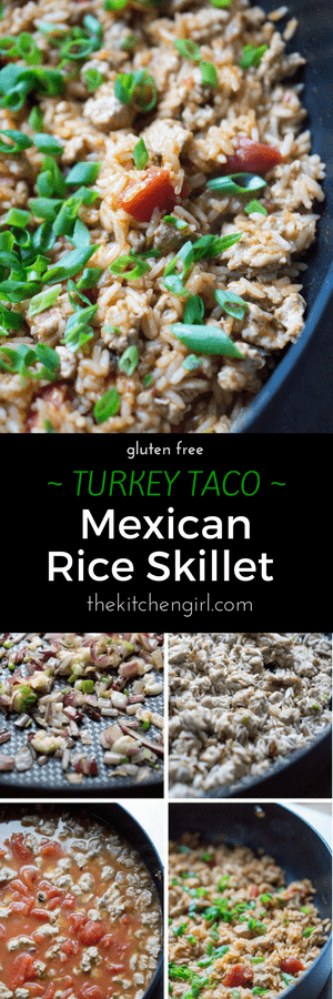 Healthy filling for tacos, burritos, or nachos! Ground Turkey Taco Mexican Rice Skillet on thekitchengirl.com. #healthymexicanfood #skilletrecipe #30minutemeal #mexicanrice #tacofilling #turkeytacos