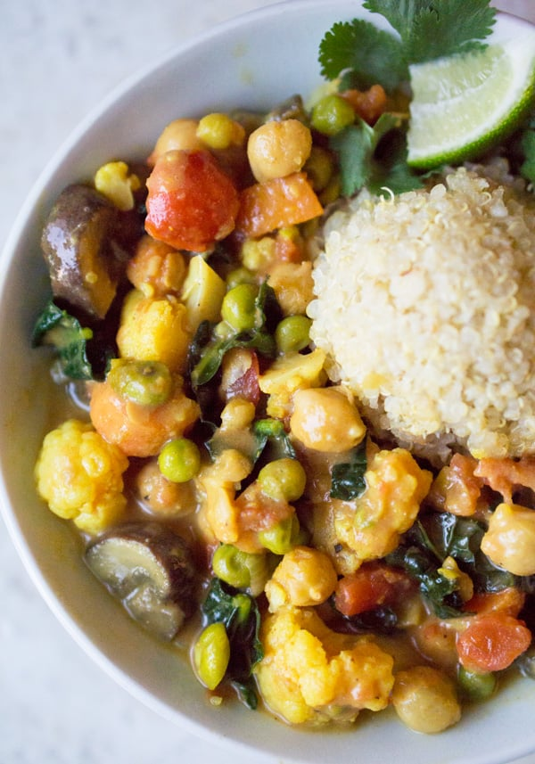 Vegan Thai vegetable curry made with everyday vegetables, coconut milk, and red curry paste #vegan #curry #Asiancurry #thaicurry #thaicoconut #coconutmilk #onepotdinner