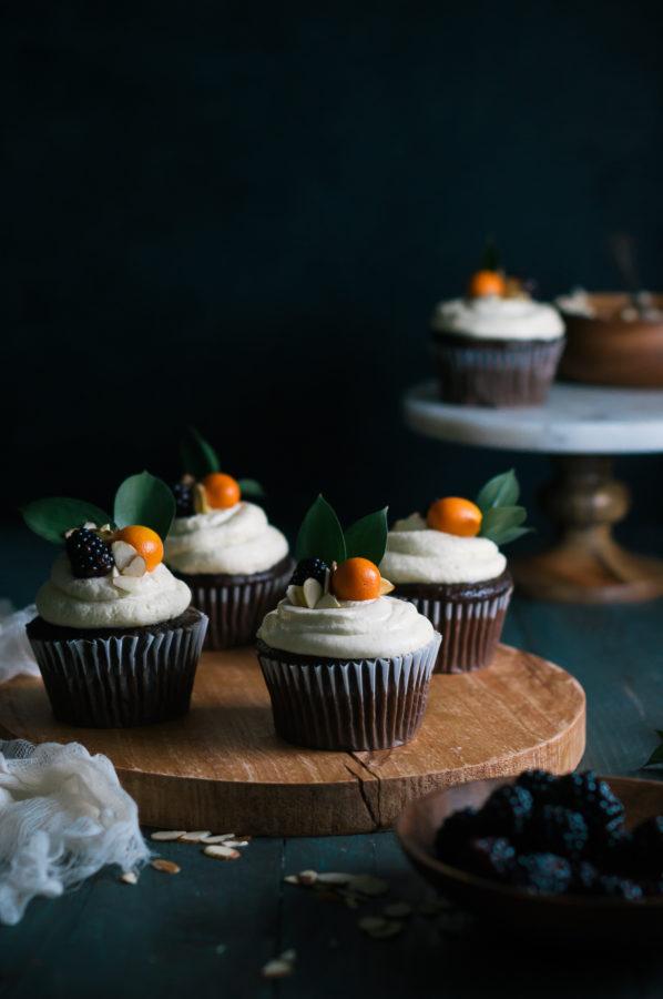 Chocolate & Earl Gray Cupcakes with Kumquat Italian Meringue Buttercream