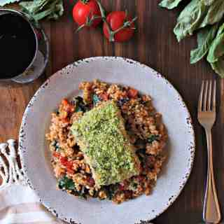 Basil Panko-Crusted Salmon over Spinach and Tomato Rice! Fresh flavors, nutrient-rich ingredients... it's a busy week's dream come true!