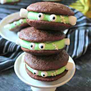 Frankenstein Chocolate Whoopie Pies! Turn this classic dessert into a quick and clever sweet Halloween treat with just a few decorative tweaks.
