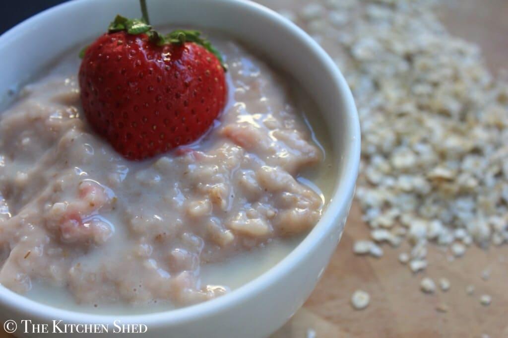 Clean Eating Strawberries and Cream Porridge