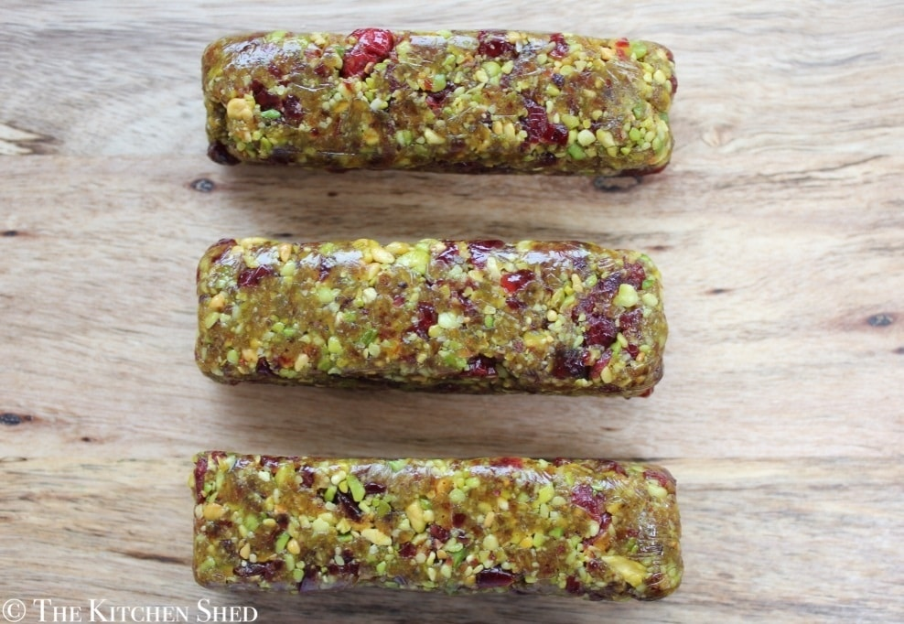 Clean Eating No Bake Cranberry Pistachio Bars - The Kitchen Shed