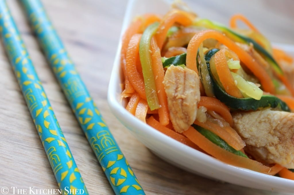 Clean Eating Garlic Ginger Turkey with Vegetable Noodles
