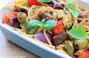 Clean Eating Mediterranean Roasted Vegetable Spaghetti