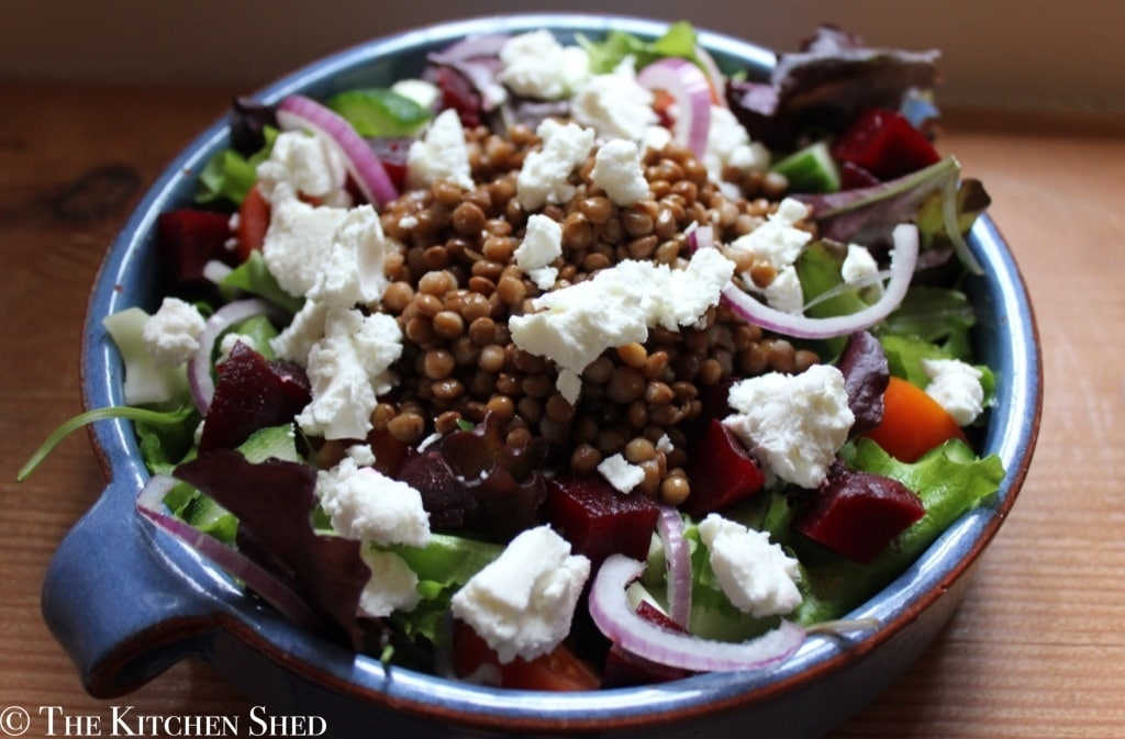 Clean Eating Super Salad with Goats Cheese and Lentils