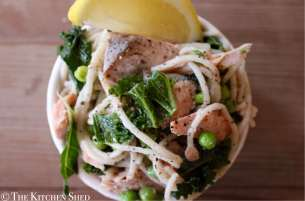Clean Eating Smoked Salmon Spaghetti & Peas