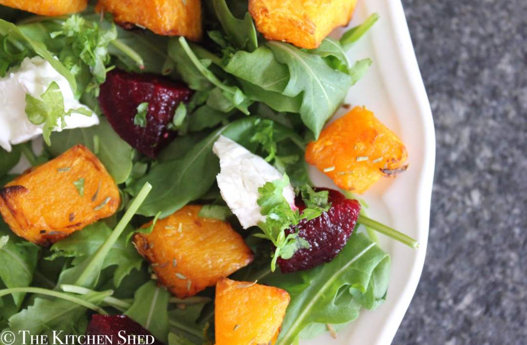 Clean Eating Butternut Squash, Goats Cheese & Beetroot Salad
