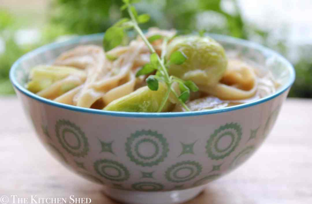 Clean Eating Chicken & Brussels Sprout Noodle Soup