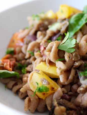 Clean Eating Roasted Veggies & Lentil Pasta