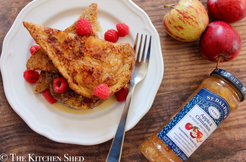 Apple and Cinnamon French Toast with Maple Syrup and Raspberries