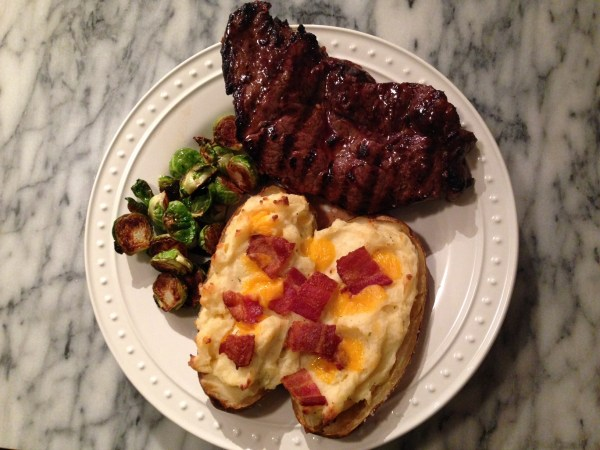 Steak and Twice Baked Potatoes