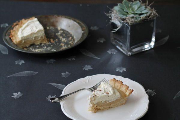 Bourbon Butterscotch Pie, a bourbon butterscotch pudding pie with a shortbread crust  via The Kittchen
