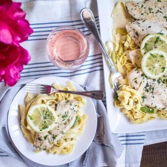 30 minute Lemon Chicken Pasta Skillet