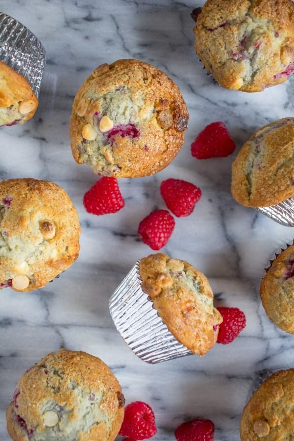 Bakery Style Raspberry White Chocolate Muffins
