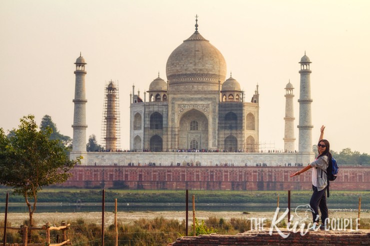 Rachel at the Taj Mahal - she has her medication and water bottle in her backpack.