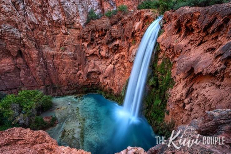 Mooney Falls - a long waterfall cascading down a canyon