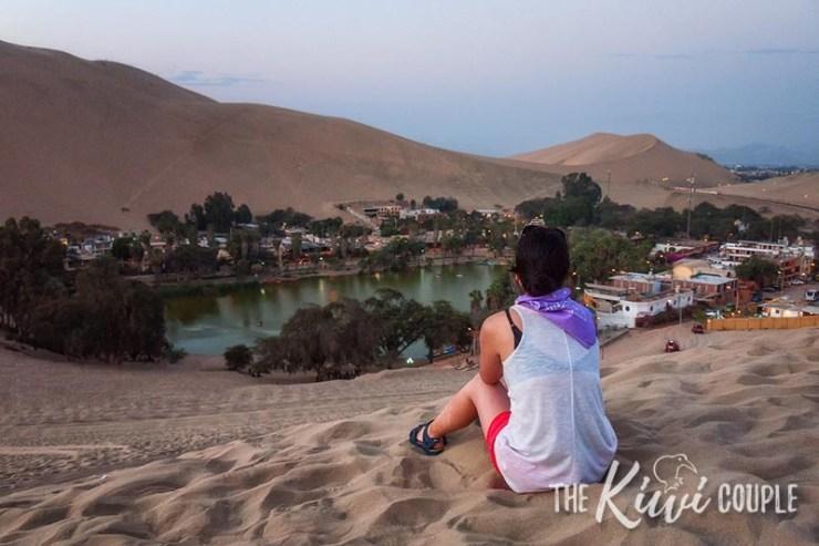 Rachel looking over Huacachina, a desert oasis.