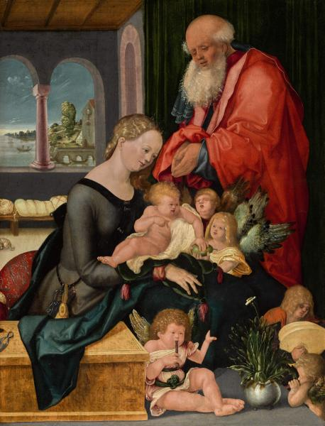 The Holy Family with five angels